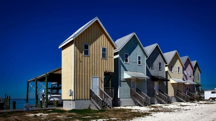 Rows of tiny houses